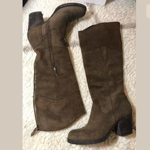 Guess Suede Leather Camel Chunky Knee High Boots 8